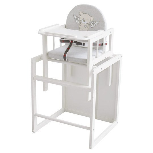 Combination highchair white with wooden dining board - Heartbreaker