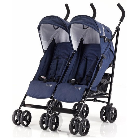 Geschwister- & Zwillingsbuggy Side by Side - Navy Blue