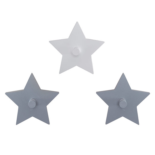 3-tlg. Wandhaken Set - Little Stars - Grau