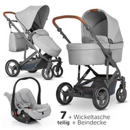 3in1 Kinderwagenset Catania 4 - inkl. Babywanne, Autositz, Wickeltasche & Beindecke - Woven Grey