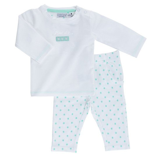 2-tlg. Set Langarmshirt + Hose - Little Star - Weiß Mint - Gr. 50