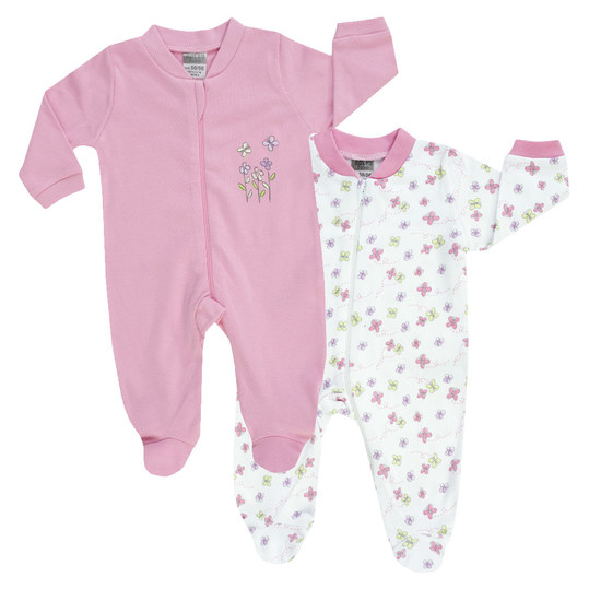 Pajamas One Piece Suit Pack of 2 - Flower Pink White - Gr. 50/56