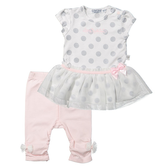 2-tlg. Set Kleid + Leggings - Little Ballerina Rosa Weiß - Gr. 74
