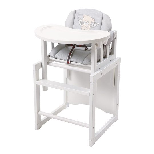 Combination highchair white incl. seat reducer and wooden dining board - Heartbreaker