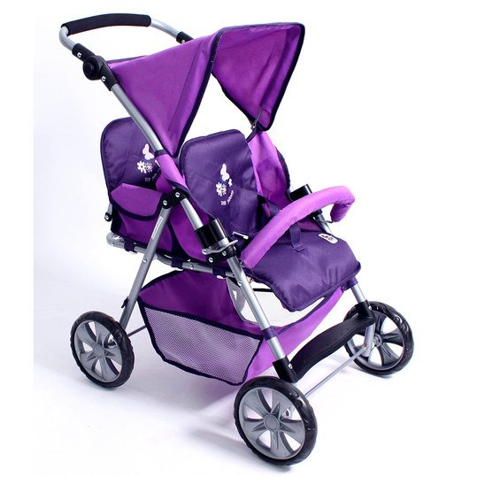 Zwillings-Puppenbuggy Tandem - Pflaume