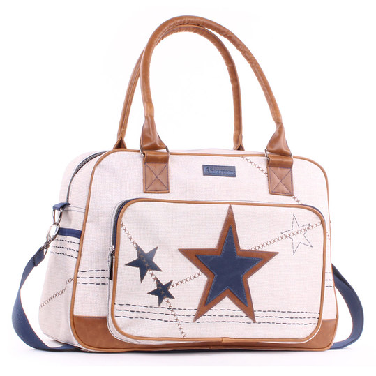Wickeltasche Super Star mit Applikation - Sand