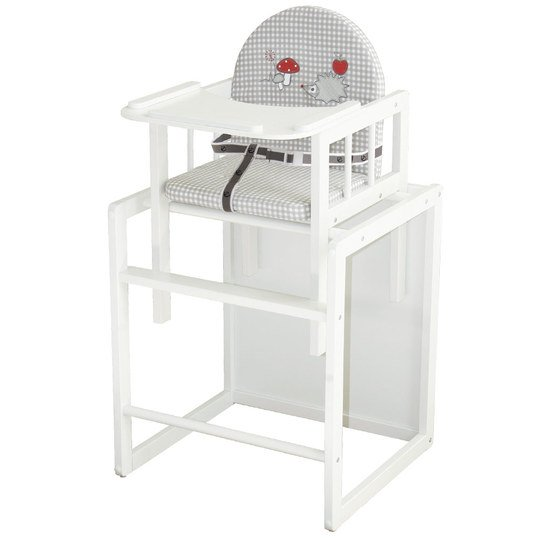 Combination highchair white with wooden dining board - Adam & owl