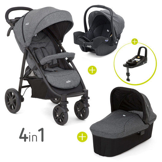 4 in 1 Kinderwagen-Set Litetrax 4 & Babywanne & Babyschale & Isofix i-Base & Regenschutz & Adapter - Chromium