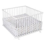 Playpen Basic White incl. insert 100 x 100 cm - Big Stars Beige