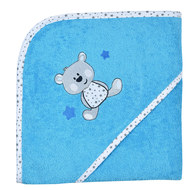 Hooded bath towel 80 x 80 cm - bear - turquoise