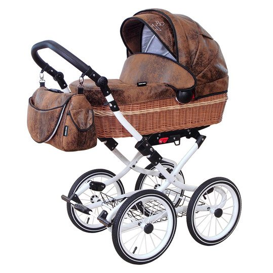 Erstlings-Kinderwagen Nature - Lederlook Antik