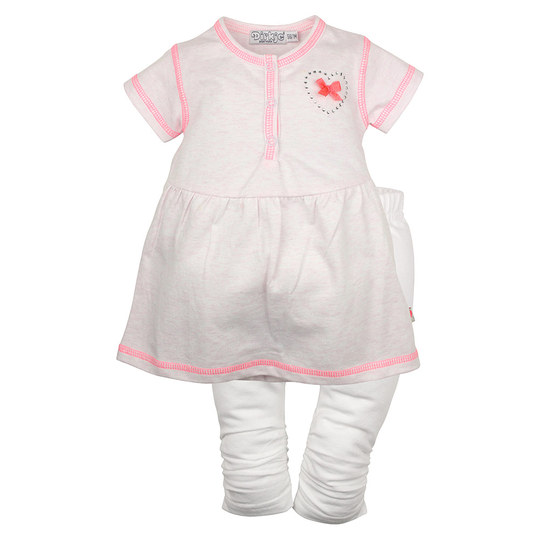2-tlg. Set Kleid + Leggings - Heart Weiß Rosa - Gr. 68