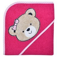 Hooded bath towel 80 x 80 cm - Teddy head - Berry