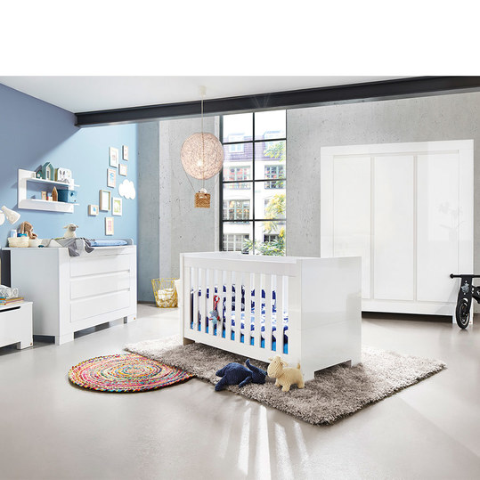 pinolino kinderzimmer sky mit 3 t rigem schrank bett extrabreiter wickelkommode hochglanz. Black Bedroom Furniture Sets. Home Design Ideas