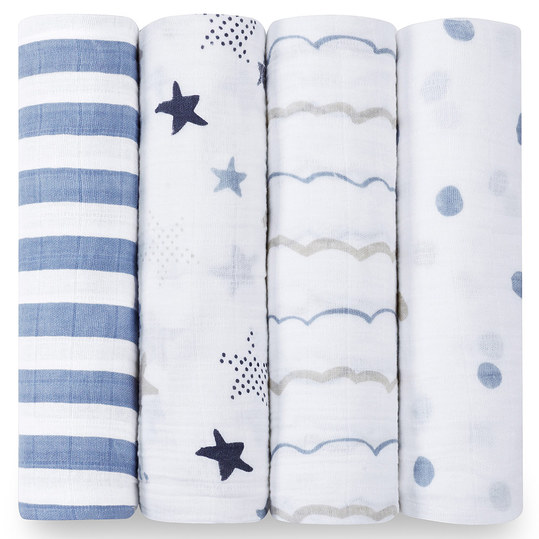 Mullwindel 4er Pack Classic Swaddles 120 x 120 cm - Rock Star