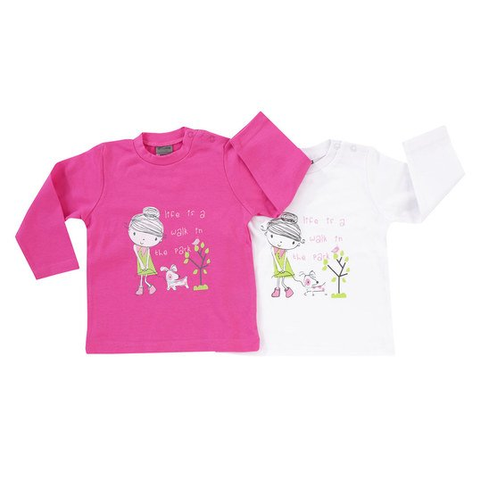 Langarmshirt 2er Pack - Walk in The Park - Pink Weiß - Gr. 74/80
