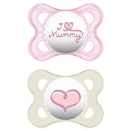 Dummy 2-pack Original - Silicone 0-6 M - I love Mummy - for girls