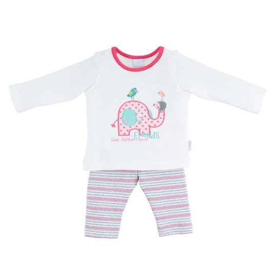 2-tlg. Set Langarmshirt + Leggings Happy Friends - Weiß Rosa - Gr. 68