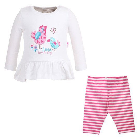 2-tlg. Set Langarmshirt + Leggings Birds - Weiß Pink - Gr. 74