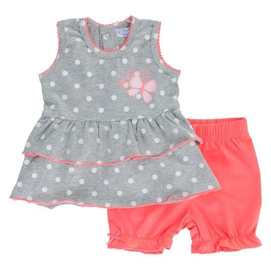 2-tlg. Set Kleid + Shorts - Butterfly Punkte - Rosa - Gr. 56