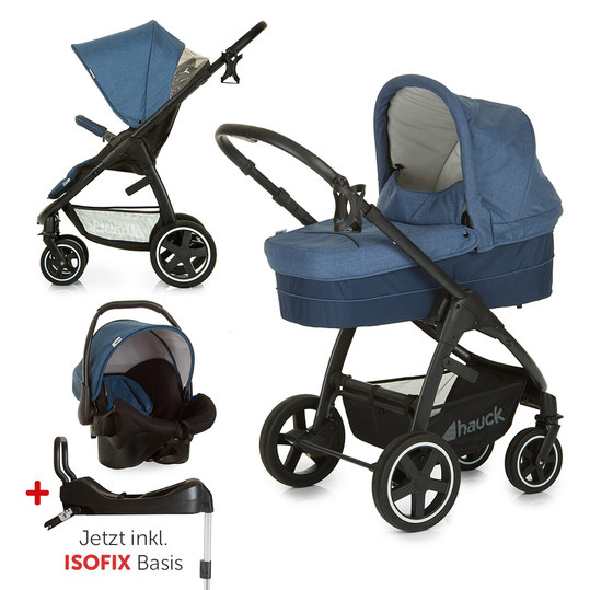 Kinderwagen-Set Soul Plus Trio Set inkl. Isofix Basis - Melange Navy