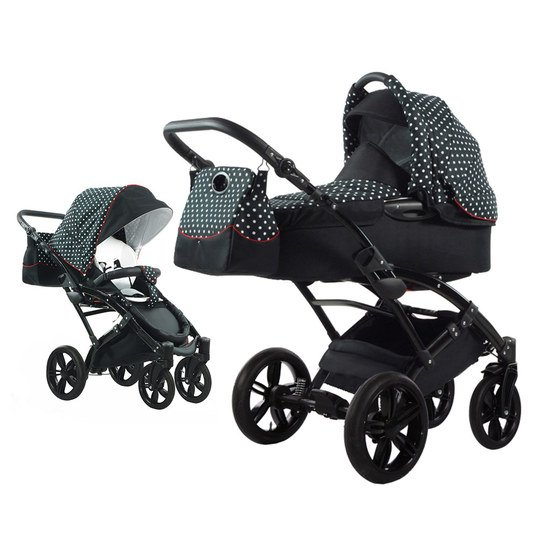 knorr baby kombi kinderwagen voletto tupfen schwarz wei. Black Bedroom Furniture Sets. Home Design Ideas