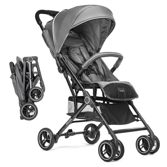 Buggy / stroller Mikra with reclining function, small foldable - Dark Grey