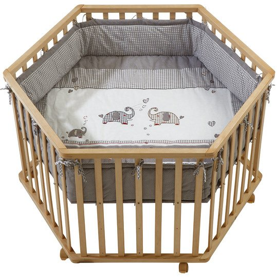 Playpen 6-sided natural incl. insert 120 x 120 cm - Jumbotwins