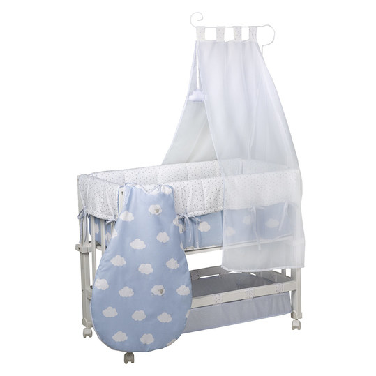 Cot 3 in 1 Babysitter White incl. Accessories - Small Cloud - Blue