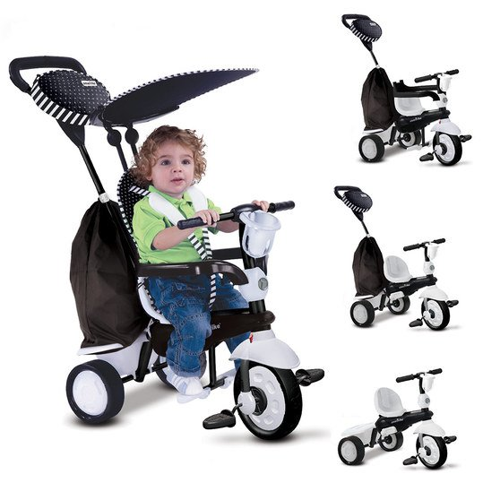 Dreirad Spark 4 in 1 mit Touch Steering - Black & White