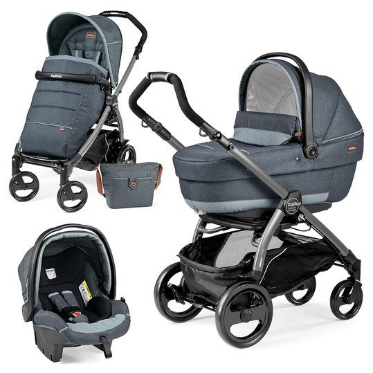Kinderwagen-Set Book Plus 51 XL Completo Modular Gestell Jet / Anthrazit - Blue Denim