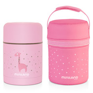 Edelstahl-Isolierbox inkl. Neopren-Tasche Silky Food Thermos 600 ml - Rosa