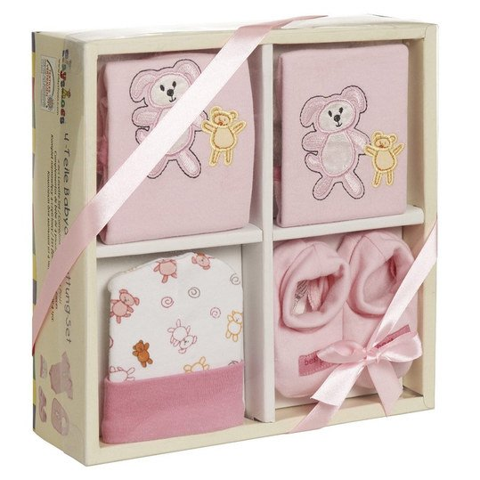 4-tlg. Babyausstattungs-Set - Rose - Gr. 0 - 6 Monate