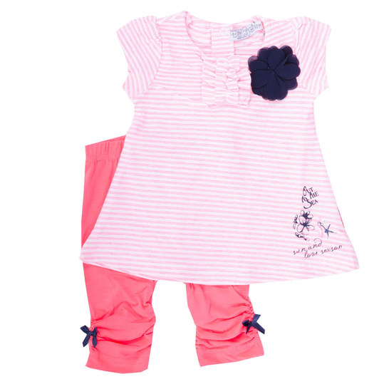 2-tlg. Set Kleid + Leggings - Blume Pink - Gr. 80
