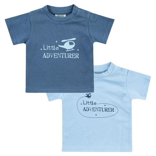 T-Shirt 2er Pack Little Adventurer - Hellblau Dunkelblau - Gr. 74/80