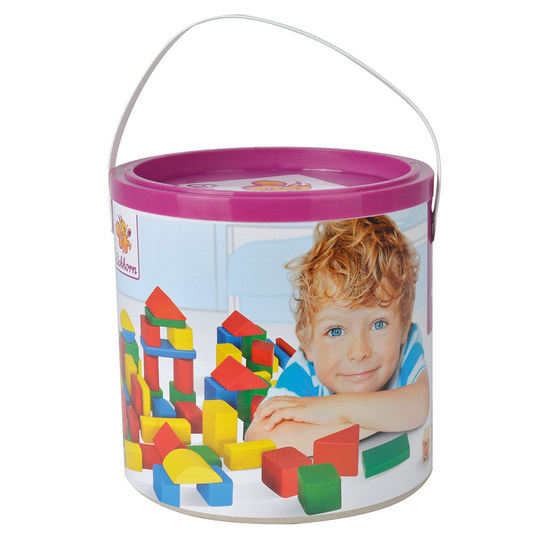 Eichhorn Wooden bricks 100 pieces in bucket - Multicolor