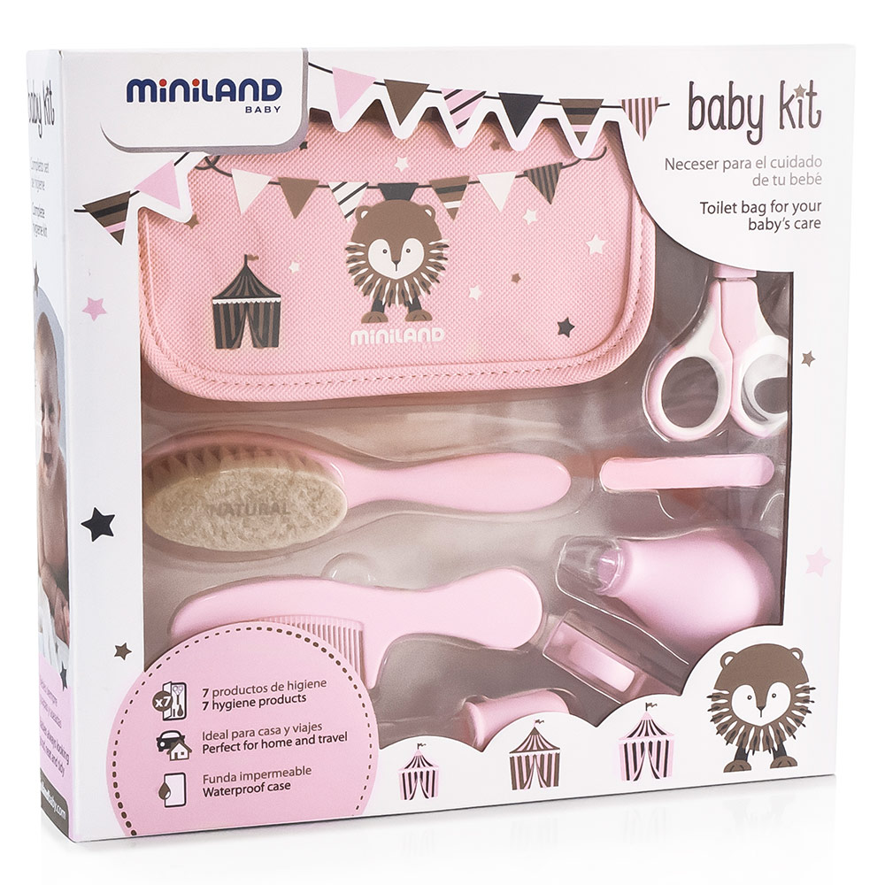 Miniland 12 Piece Care Set Baby Kit In Case Pink Babyartikelde