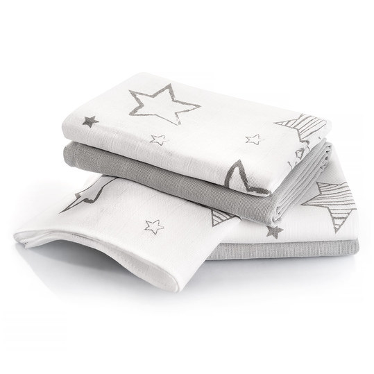Diaper 4er Pack - Stars - White Grey