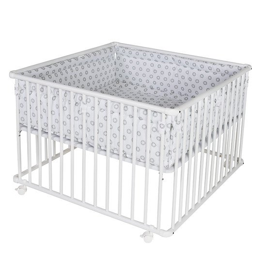 Playpen Basic White incl. insert 100 x 100 cm - Circle Star Grey