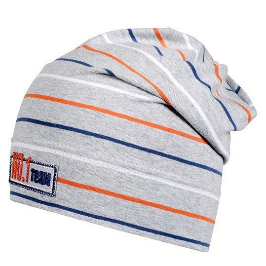 Slouch-Beanie No.1 Team - Ringel Hellgrau Orange - Gr. 49