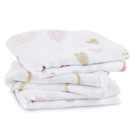 Gauze diaper pack of 3 Classic Musy 70 x 70 cm - Heart Breaker