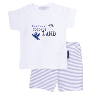 2-tlg. Set T-Shirt + Shorts - Captain Blau Weiß