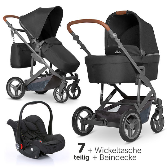 3in1 Kinderwagenset Catania 4 - inkl. Babywanne, Autositz, Wickeltasche & Beindecke - Woven Black