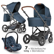 3in1 Kinderwagenset Catania 4 - inkl. Babywanne, Autositz, Wickeltasche & Beindecke - Woven Navy