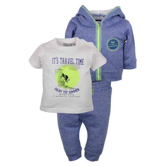 3-tlg. Set T-Shirt + Hose + Jacke - Enjoy the Summer Blau - Gr. 74