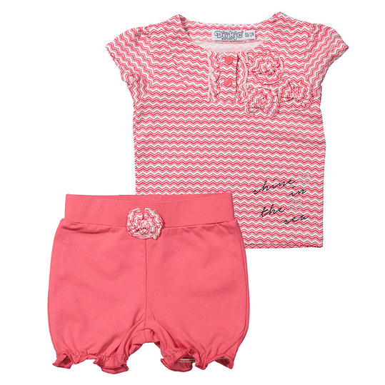 2-tlg. Set T-Shirt + Shorts - Shine In The Sea Pink Weiß - Gr. 56