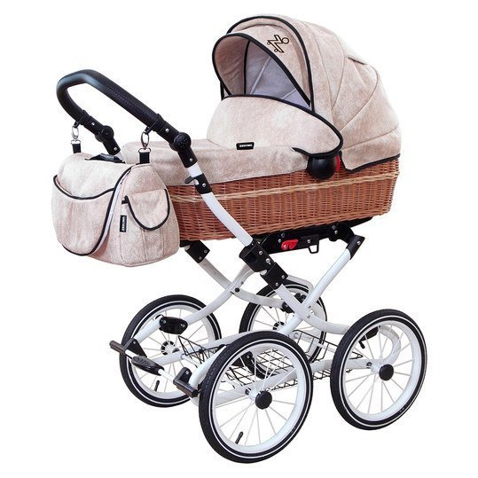 Erstlings-Kinderwagen Nature - Lederlook Vanille