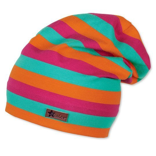 Slouch-Beanie UV 50+ - Ringel - Magenta Orange - Gr. 49