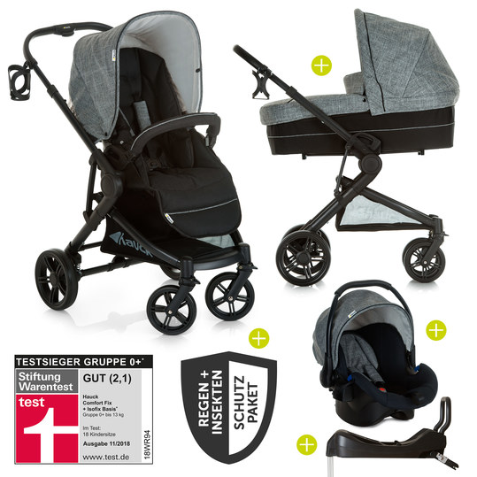 4in1 Kinderwagen-Set Atlantic Plus Trio Set inkl. Isofix Basis und XXL Zubehörpaket - Melange Grey Caviar