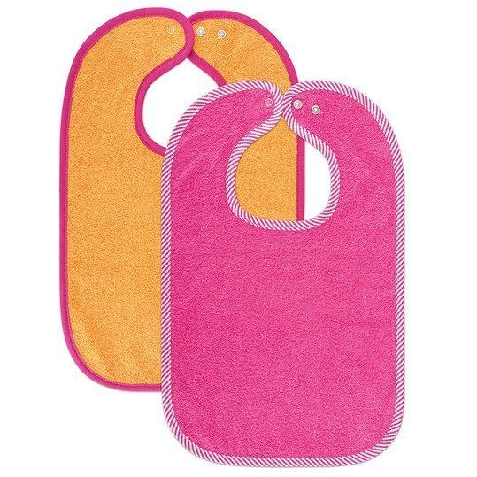 Set of 2 giant bibs with press studs - Dahlie Rosenpink